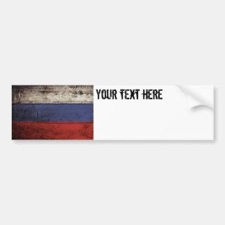 Bandera de Rusia en grano de madera viejo Pegatina Para Auto