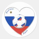 Bandera de RUSIA FÚTBOL del mundo en 2014 Pegatina Redonda