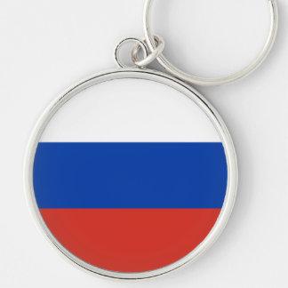 Bandera de Rusia Llavero Redondo Plateado