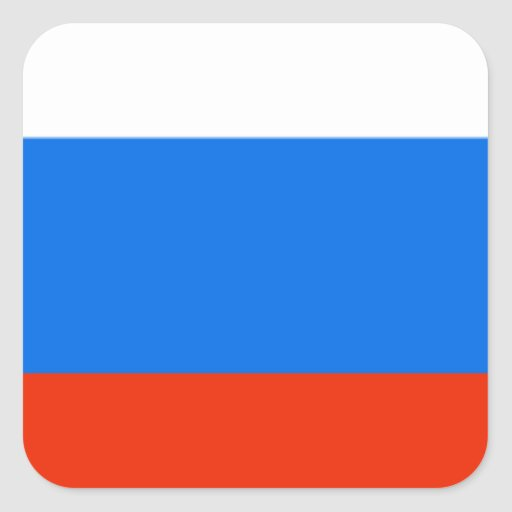 Bandera de Rusia Pegatina Cuadrada