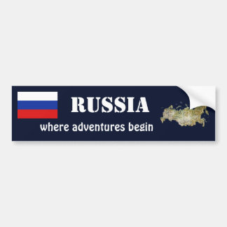 Bandera de Rusia + Pegatina para el parachoques Pegatina Para Auto