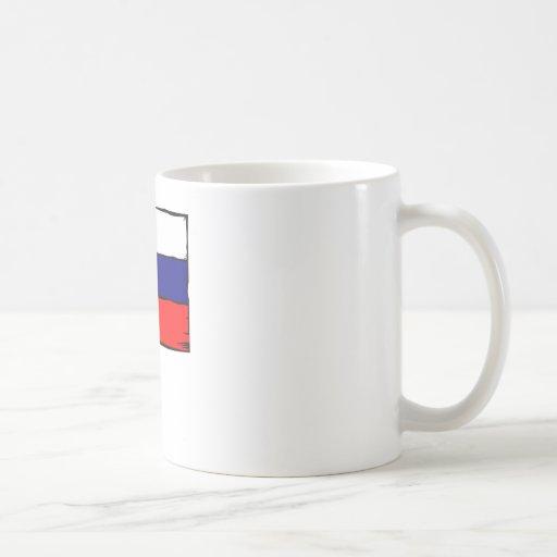 Bandera de Rusia Taza Básica Blanca