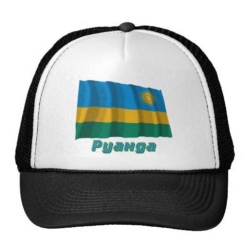 Bandera de Rwanda que agita con nombre en ruso Gorro De Camionero