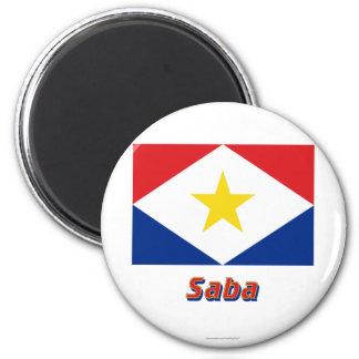 Bandera de Saba con nombre Imán De Frigorifico