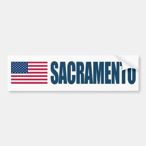 Bandera de Sacramento los E.E.U.U. Etiqueta De Parachoque