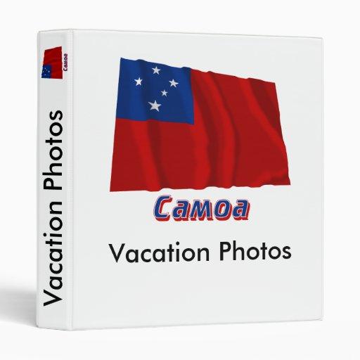Bandera de Samoa que agita con nombre en ruso