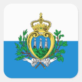 Bandera de San Marino Pegatina Cuadrada