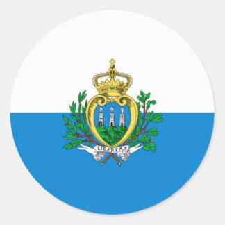 Bandera de San Marino Pegatina Redonda
