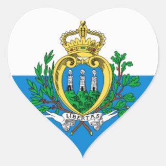 Bandera de San Marino Pegatina En Forma De Corazón