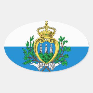 Bandera de San Marino Pegatina Ovalada