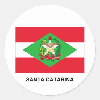 Bandera de Santa Catarina, el Brasil Pegatina Redonda
