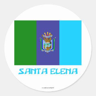 Bandera de Santa Elena con nombre Pegatina Redonda