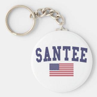 Bandera de Santee los E.E.U.U. Llavero Redondo Tipo Pin