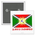 Bandera de Santo Domingo con nombre Pin Cuadrado