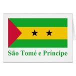 Bandera de Sao Tome y de Principe con nombre en po Tarjeta