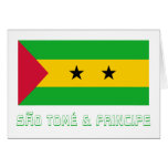 Bandera de Sao Tome y de Principe con nombre Tarjeton