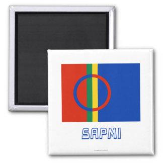 Bandera de Sapmi con nombre Imán Cuadrado