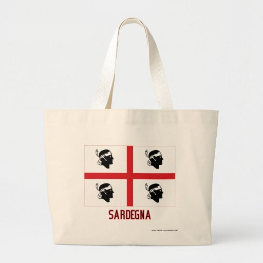 Bandera de Sardegna con nombre Bolsa Tela Grande