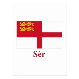 Bandera de Sark con nombre en Sercquiaise Tarjeta Postal