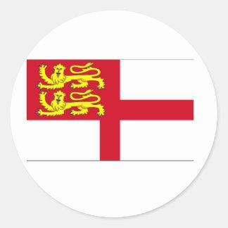 Bandera de Sark Etiqueta Redonda