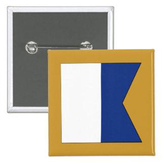 Bandera de señal de la alfa (a) pin cuadrada 5 cm