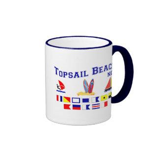 Bandera de señal del NC de la playa de Topsail Taza De Dos Colores