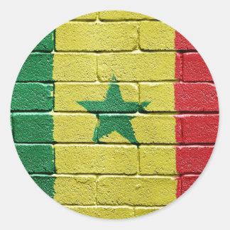 Bandera de Senegal Etiqueta Redonda