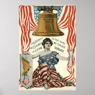 Bandera de señora Liberty Bell los E.E.U.U. el 4 d Posters