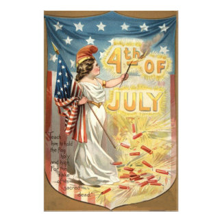 Bandera de señora Liberty los E E U U del petardo Arte Con Fotos