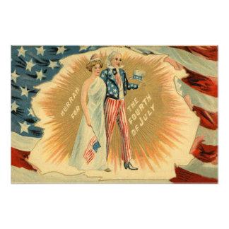 Bandera de señora Liberty los E E U U del tío Sam Impresion Fotografica