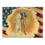 Bandera de señora Liberty los E.E.U.U. del tío Sam Tarjeta Postal