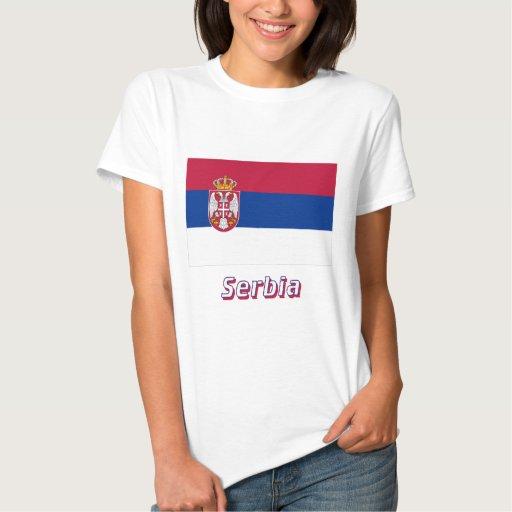 Bandera de Serbia con nombre Playera