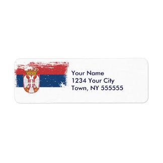 Bandera de Serbia del Grunge Etiqueta De Remitente