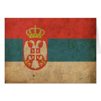 Bandera de Serbia del vintage Tarjeta De Felicitación