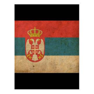Bandera de Serbia del vintage Tarjeta Postal