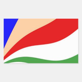 Bandera de Seychelles que agita Pegatina Rectangular