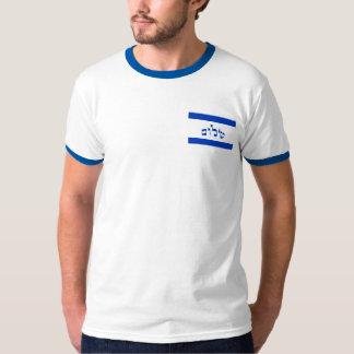 Bandera de Shalom en hebreo Remeras