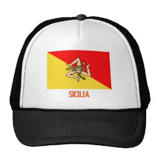 Bandera de Sicilia con nombre Gorros Bordados