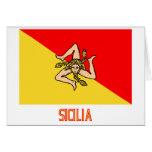 Bandera de Sicilia con nombre Tarjeta De Felicitación