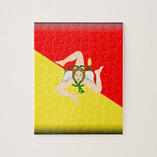 Bandera de Sicilia (Italia) Puzzles Con Fotos