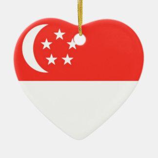 Bandera de Singapur Adorno Navideño De Cerámica En Forma De Corazón