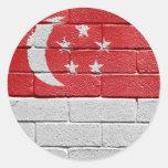 Bandera de Singapur Etiqueta Redonda