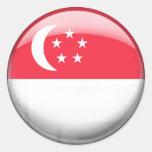 Bandera de Singapur Etiquetas Redondas