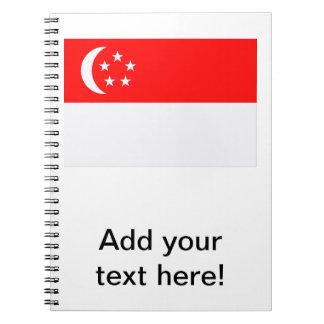 Bandera de Singapur Libro De Apuntes Con Espiral