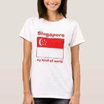 Bandera de Singapur + Mapa + Camiseta del texto