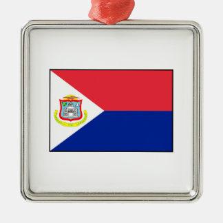 Bandera de Sint Maarten Adorno Navideño Cuadrado De Metal