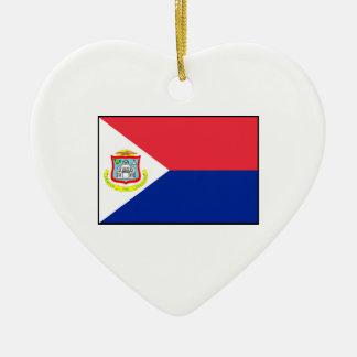 Bandera de Sint Maarten Adorno Navideño De Cerámica En Forma De Corazón