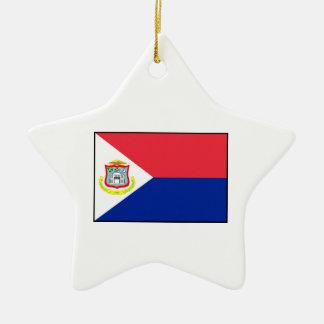 Bandera de Sint Maarten Adorno Navideño De Cerámica En Forma De Estrella