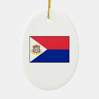 Bandera de Sint Maarten Adorno Navideño Ovalado De Cerámica