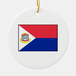 Bandera de Sint Maarten Adorno Navideño Redondo De Cerámica